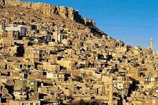 Stone houses of Mardin on the hillside
